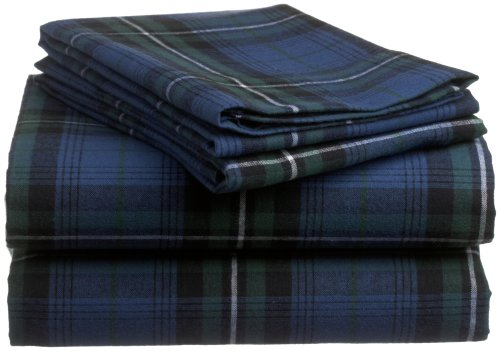 Pinzon 160-Gram Yarn-Dyed 100-Percent Cotton Flannel Sheet Set, Twin Xl, Blackwatch Plaid