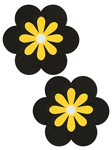 Daisy Nipple Pasties Black & Yellow Pastease O/S