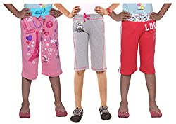 Menthol Girls Stylish Cotton Capri Combo (Pack of 3) (Pink Greymelange Tomato, 5-6 Years)