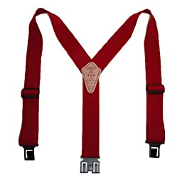Perry Suspenders Mens Elastic Ruf-N-Tuf Hook End Suspenders (Tall Available), Regular, Red