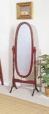 Queen Anne Style Cherry Finish Wood Bedroom Floor Mirror