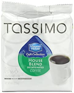 Maxwell House Cafe Collection House Blend Decffeinated Coffee (Medium), 16-Count T-Discs for Tassimo Coffeemakers (Pack of 2)