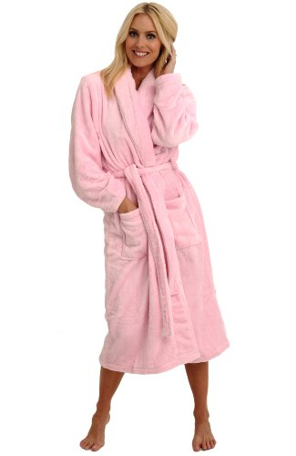 Del Rossa Classic Fleece Shawl Collar Bathrobe, Pink