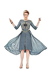 Angroop Womens Georgette Stitched Cut Dress (Grey)