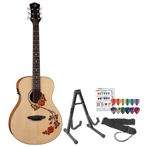 Luna Guitars Ocl-Rse Oracle Rose Acoustic-Electric Guitar W/ Stand & Pick Sampler
