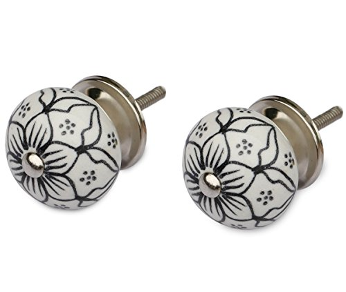 Festival Sale - Knobs and Pulls Set of 2 White & Black Round Ceramic Knob - Modern Knob for Dresser / Cabinets/Cupboard/Chest Handle - Unique Drawer Pull Handles - 4mm Rod Dia (Black And White Knobs compare prices)
