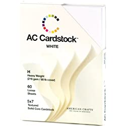 American Crafts 5-Inch by 7-Inch Cardstock, Heavy Weight, White, 60 sheets