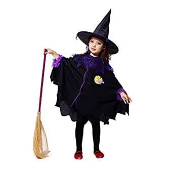Ibeauti Halloween Masquerade Witch Cloak with Hat Costume for Kids Girls