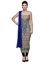 Eveuliv Chanderi Embellished, Embroidered Salwar Suit Dupatta Material(Un-stiched)