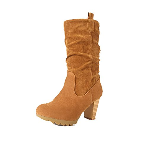 allhqfashion-womens-pull-on-round-closed-toe-high-heels-imitated-suede-low-top-boots-brown-41