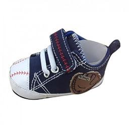 Rising Star Infant Boys Blue Baseball Tennis Shoes Soft Baby Crib Shoes