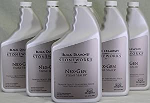 Black Diamond Nex-Gen Natural Stone Penetrating Sealer: Seals & Protects; Granite, Marble, Travertine, Limestone, Concrete, Grout, Tile, Brick, Block & Slate Floors, Patios and Fireplaces. Case of 6-Quarts.