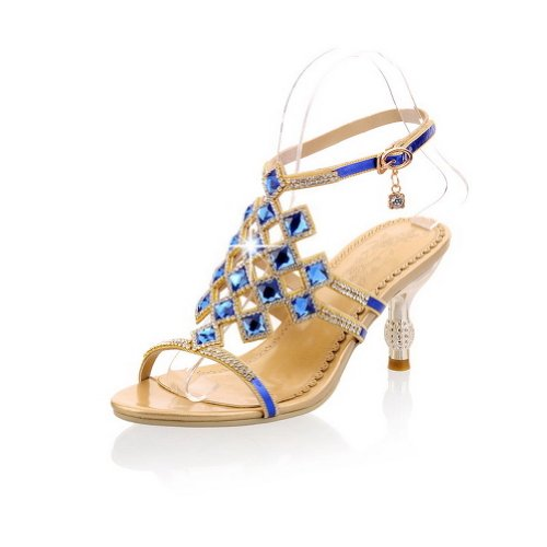 Vogue009 Womens Open High Heel Blend Materials Soft Material Solid Sandals With Glass Diamond, Blue, 37 front-270438