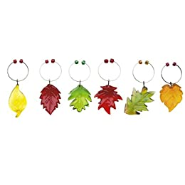 Product Image Into Autumn Glass Wine Marker Set of 6