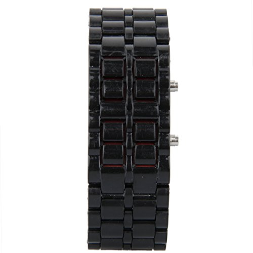 2016-Alloy-Led-Volcanic-Lava-Iron-Faceless-Metal-Watch-Bracelet-Square-Wrist-Unisex-Sports-Bracelet-BlackRed-Light