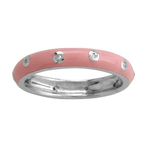 Sterling Silver Light Pink Enamel Diamond-Accent Women's Ring, Size 9