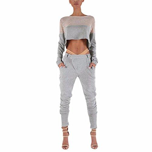QIYUN.Z Manica Lunga Donna Pantaloni Top Aderente Maglia Tasca Dei Pantaloni Grigi Di Sport Set Di Fitness