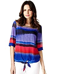 Front Tie Watercolour Striped Blouse with Camisole