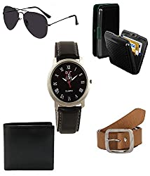 Combo Of Brown Belt,Watch,Sunglass,Wallet And Cardholder Gift Set For Men Pack Of 5