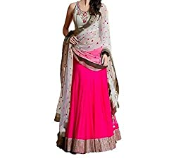 MAHAVIR FASHION Women's Pink Embroidered Georgette Semi-stitched Lehenga Choli (Lehenga_517_Freesize_Pink)