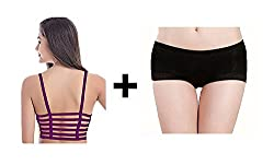 BYC Combo of Back Straps Padded Bralette (removable pads) + Boyshort Briefs Free Size Panties ...