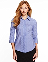 M&S Collection No Peep™ Striped Corset Shirt