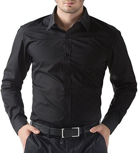 PAUL JONES Casual Slim Fit Dress Shirts for Men Black(M) (Customer Images compare prices)