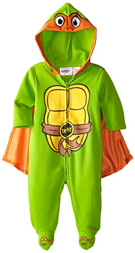 Nickelodeon Baby Baby-Boys Newborn Ninja Turtle Coverall with Cape and 3D Embroidery On Feet, Green, 3-6 Months