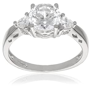 "Platinum Plated Sterling Silver ""100 Facets Collection"" Cubic Zirconia Three-Stone Ring (3 cttw), Size 7"