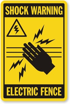 """Shock Warning Electric Fence (With Graphic) Sign, 18"""" X 12"""""""