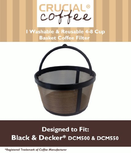 1 Black & Decker Washable & Reusable 4-8 Cup Basket Coffee Filter; Fits Most 4-8 Cup Coffee Machines Including Black & Decker, Bunn, Continental, Hamilton Beach, Kitchenaid & Mr. Coffee; Designed & Engineered by Crucial Coffee
