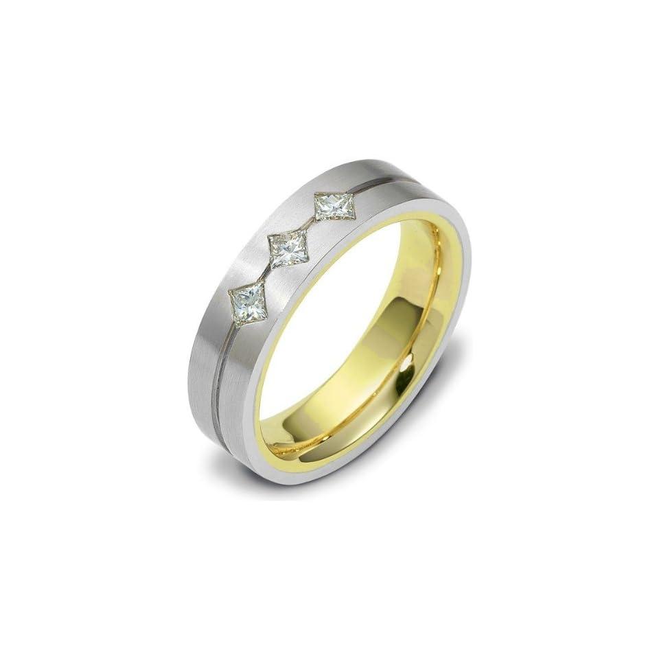 Unique 3 Diamond 14 Karat Two Tone Gold Wedding Band Ring