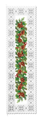 Heritage Lace Pine and Berries Runner, 14 by 51-Inch, White