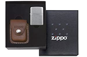 Zippo Gift Set w/ Brown Leather Clip Pouch (Lighter NotIncluded) - LPGS/LPCB