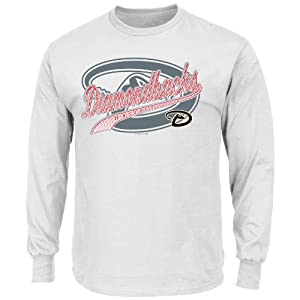 MLB Mens Basic Long Sleeve T-Shirt, White by Majestic
