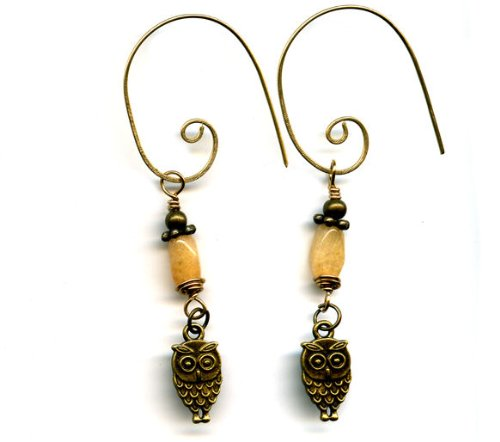 Brass Citrine Dangle Earrings with Owls