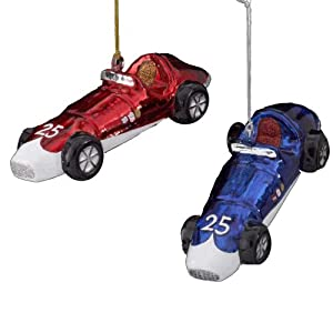 "5"" NOBLE GEMS STUDEBAKER RACE CAR ORNAMENT SET OF 2"