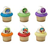 DISNEY INSIDE OUT 24 Piece Birthday Cupcake RING Topper Set Featuring Riley's 5 Emotions: Fear, Sadness, Joy, Anger, Disgust, and Imaginary Friend Bing Bong.