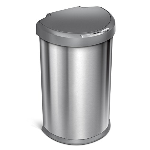 simplehuman 45L Semi-Round Sensor Can, Touchless Automatic Trash Can, 2nd Generation, Stainless Steel with Plastic Lid, 45 L / 11.8 Gal (Sensor Trash Can 13 Gallon compare prices)