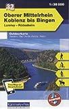 Deutschland Outdoorkarte 32 Oberer Mittelrhein, Koblenz bis Bingen 1 : 35.000: Loreley-Rüdesheim. Wanderwege, Radwanderwege, Nordic Walking, Reiten