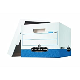 Bankers Box R-Kive Heavy-Duty Storage Boxes, Letter/Legal, White/Blue, 12 Pack (07243 )