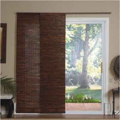 Panel Track Bamboo Blind in Java Mahogany