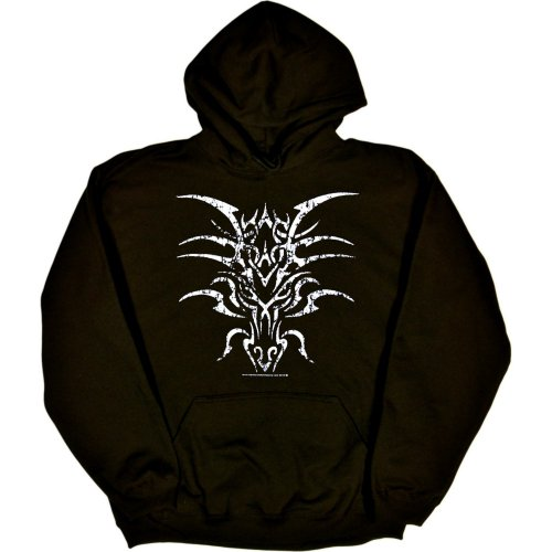 MENS HOODY : FOREST - XXXX-LARGE - Tribal Tattoo Dragon (DISTRESSED PRINT)