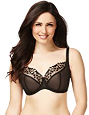 Underwired Embroidered Animal Spotted Sheer DD-G Bra