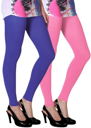 Slassy Women's Ankle Length Leggings Pack Of 2 (Royal Blue, Pink_Medium)  available at amazon for Rs.449