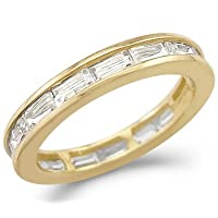 14k Yellow Gold Eternity Wedding Anniversary CZ Band Size 5, 6, 7, or 8