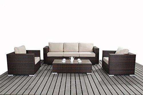 Polyrattan Lounge Gartenmöbel Sofaset Sofa Lissabon braun-meliert online bestellen