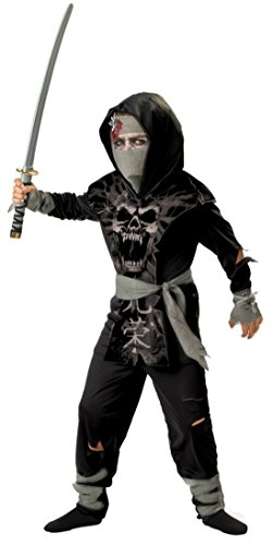 Boys Dark Zombie Ninja Kids Child Fancy Dress Party Halloween Costume