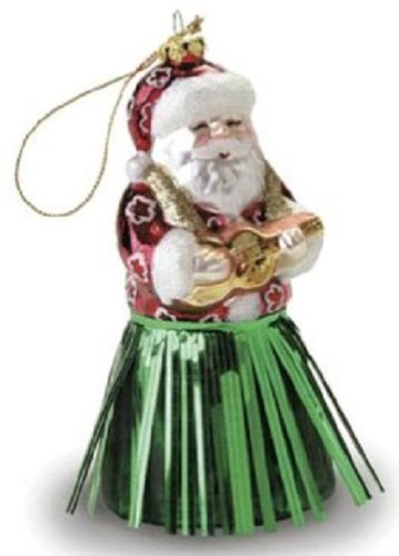 Island Heritage Hula Skirt Santa Collectible Glass Ornament