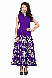 Isha Enterprise Women's Raw Silk Purple Kurti